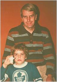 "Here I am at 7 years old, with my Dad. This is the only photo I still have that I know was taken at what we called ""The Centre"" - the hospital in Toronto."