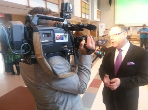 Business Cares committee Chairman, Wayne Dunn, interviewed by Brian Bicknell from CTV News.