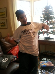 First Mate Eddie models the first-ever Mutineer t-shirt on Christmas Day 2014. Even I don't have a Mutineer shirt yet!